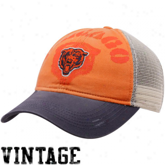 Da Bears Hats : Reebok Da Bears Ladies Orange-navy Blue Two-tone Slouch Mesh Back Adjustablee Hats