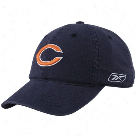 Da Bears Hats : Reebok Da Bears Navy Blue Slouch Flex Fit Hats