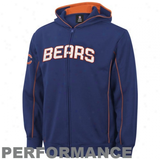 Da Bears Hoodys : Reebok Da Bears Navy Blue Captain Full Zip Hoodys Jacket