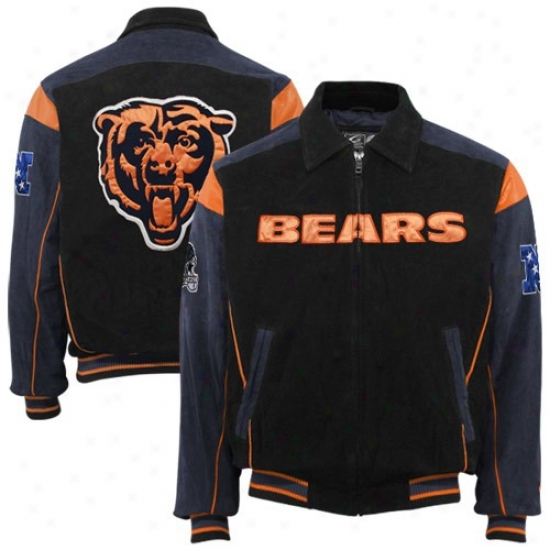 Da Bears Jacket : Da Bears Black-navy Blue Split Suede Full Zip Jacket