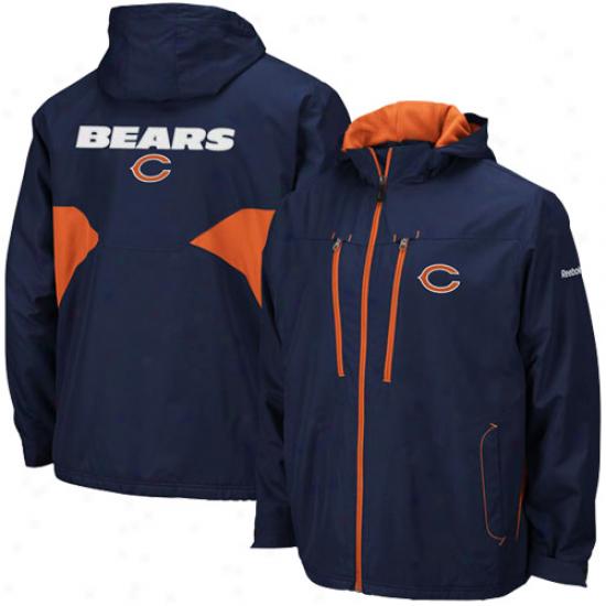 Da Bears Jackets : Reebo Da Bears Ships Blue Sideline Midweight Full Zip Jackets