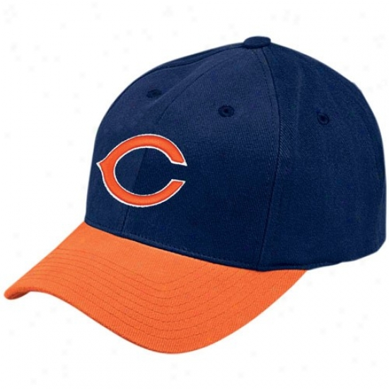 Da Bears Merchandise: Reebok Da Bears Navy Blue Brusher Basic Logo Adjustable Hat