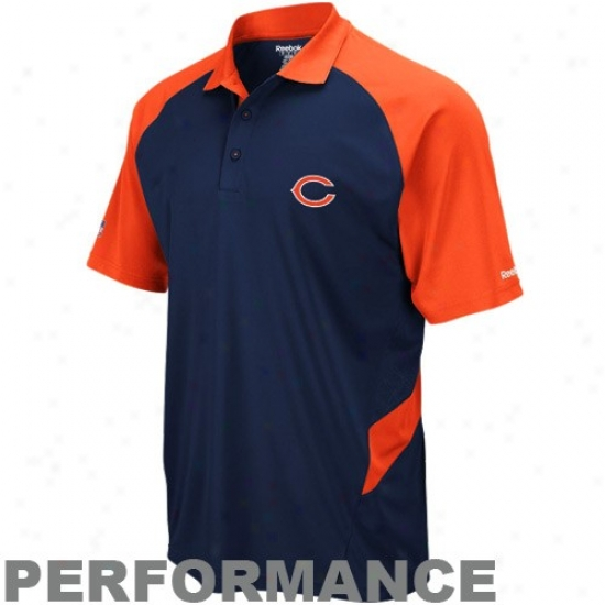 Da Bears Polos : Reebok Da Bears Navy Blue-orange Sideline Statement Performance Polos