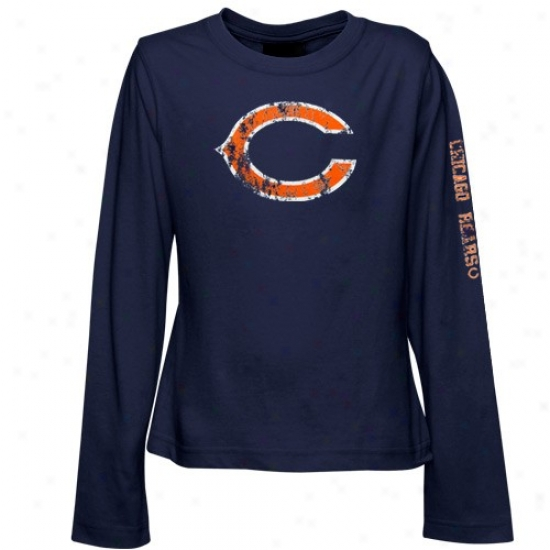 Da Bears Shirt : Reebok Da Bears Navy Blue Youth Gidls Giant Logo Long Sleeve Shirt