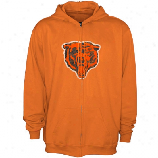 Da Bears Sweatt Shirts : Reebok Da Bears Orange More useful Logo Distressed Full Zip Swaet Shirts
