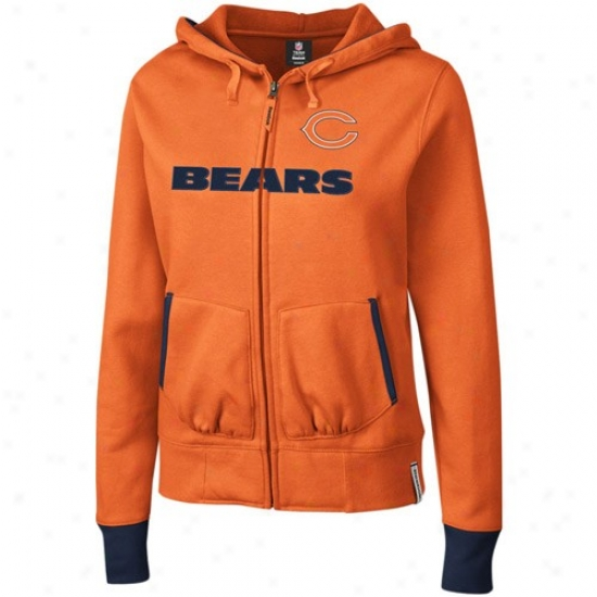 Da Bears Sweatshirts : Reebok Da Beas Ladies Orange Chant Full Zip Sweatshirts