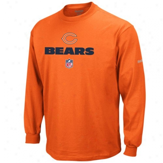Da Bears T Shirt : Reebok Da Beras Orange Team Lockup Sideline Long Sleeve T Shirt