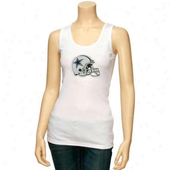 Dallas Cowboy Apparel: Reebok Dalllas Cowboy Ladies White Rhinestone Helmet Tank Top