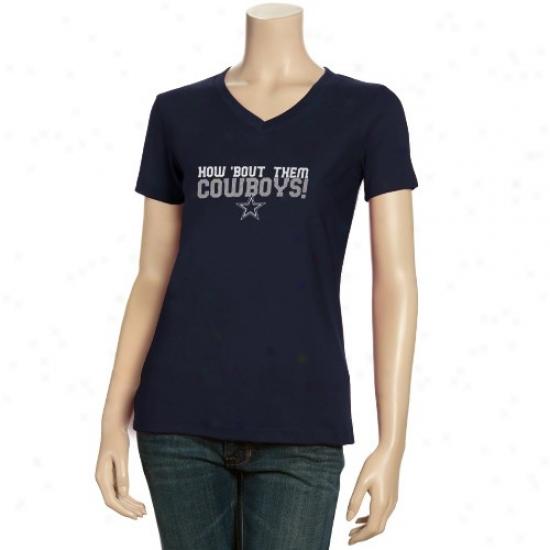 Dallas Cowboy Apparel: Reebok Dallas Cowboy Ladies Navy Blue Her Cheer V-neck T-shirt