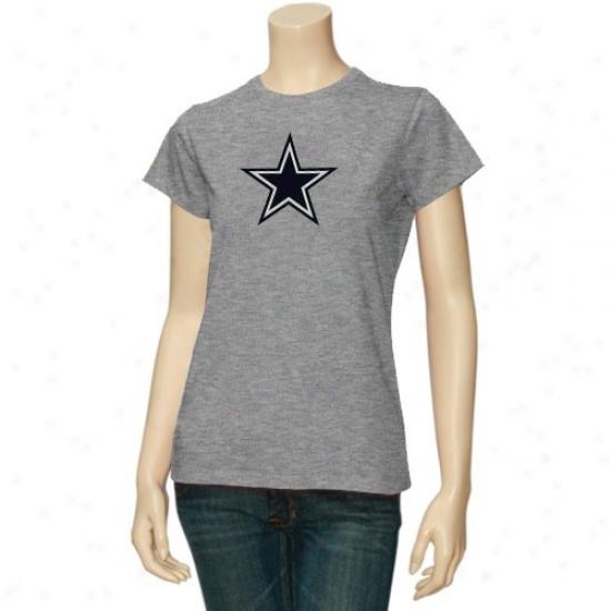 Dallas Cowboy Attire: Reebok Dallas Cowboy Ladies Ash Logo Premier T-shirt