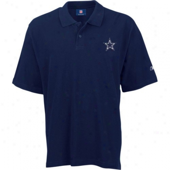 Dallas Cowboy Clothing: Reebok Dallas Cowboy Navy Team Logo Pique Polo