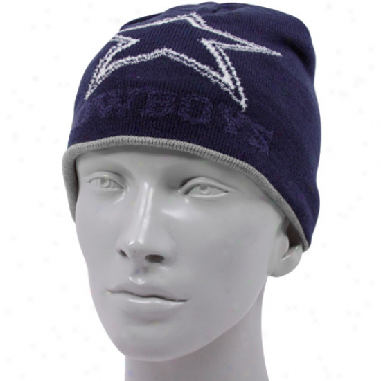 Dallas Cowboy Gear: Dallas Cowboy Navy Blue Ladies Portland Reversible Cuffless Knit Beanie