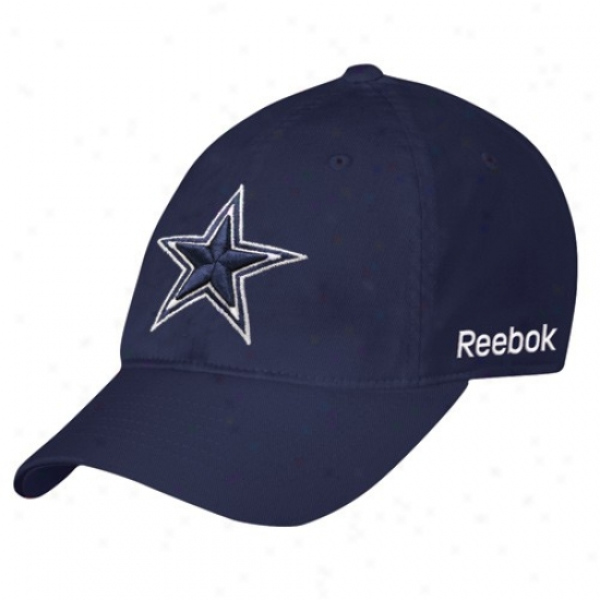 Dallas Coowboy Gear: Reebok Dallas Cowboy Navy Blue Basic Logo Slouch Flex Fit Cardinal's office