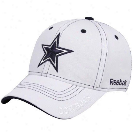 Dallas Cowboy Hat : Reebok Dallas Cowboy White Bend Structured Flex Fit Haat
