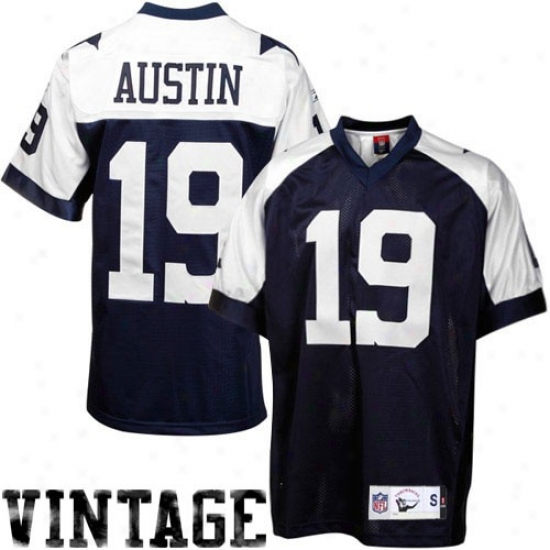 Dallas Cowboy Jerseys : Reebok Miles Austin Dallas Cowboy Premier Tackle Twill Throwback Jerseys - Navy Blue