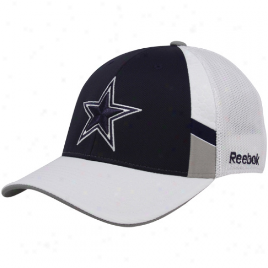 Dallas Cowboy Merchandise: Reebok Dallas Cowboy Navy Blue-white Structured Mesh Back Flex Fit Hat