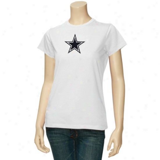 Dallas Cowboy Shirts : Reebok Dallas Cowboy Ladies White Logo Premier Shirts