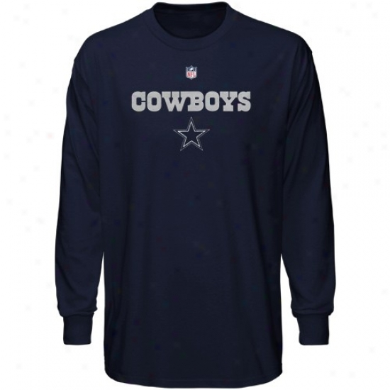 Dallas Cowboy T-shirt : Dallas Cowboy Youth Navy Bule Authentic Long Sleeve T-shirt