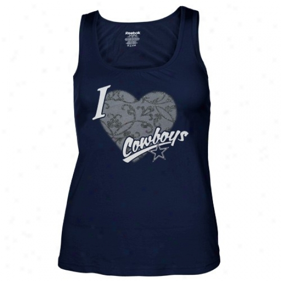 Dallas Cowboy T-shirt : Reebok Dallas Cowboy Ladies Navy Blue I Love This Team Shift Tank Top