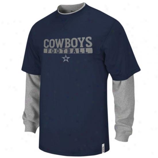 Dallas Cowboy T Shirt : Reebok Dallas Cowbooy Navy Blue-ash Splitter Double Layer T Shirt