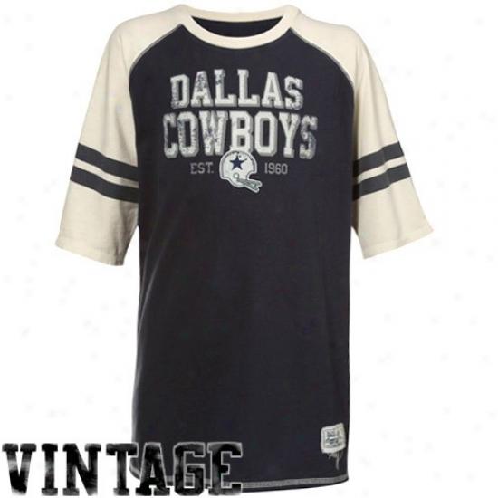 Dallas Cowboy Tee : Dallas Cowboy Youth Navy Blue Est. Raglan Tee