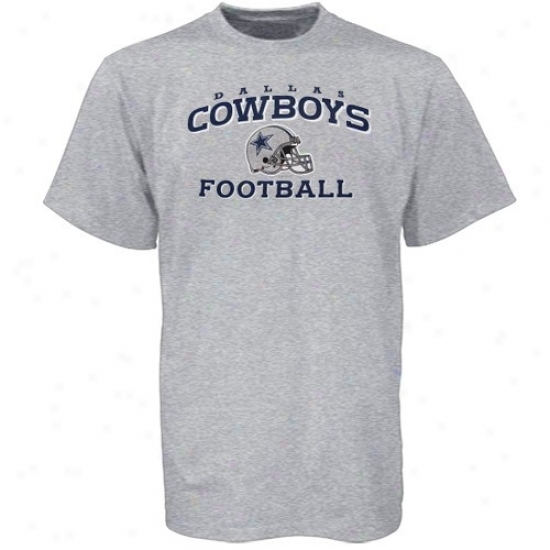 Dallas Cowboy Tee : Reebok Dallas Cowboy Youth Ash Stacked Helm Tee