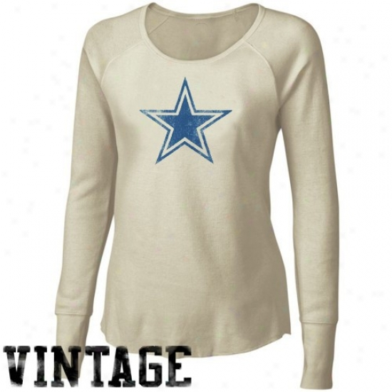 Dallas Cowboy Tshirt : Dallas Cowboy Ladies Natural Retro Logo Long Sleeve Vintage Premium Tgermal Tshirt