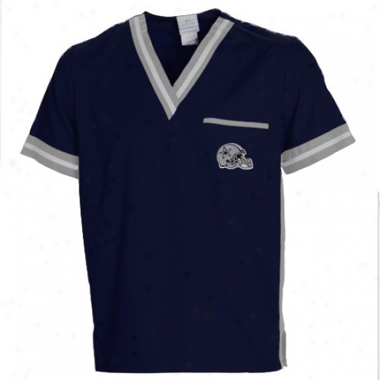 Dallas Cowboy Tshirt : Dallas Cowboy Navy Blue Scrub Top