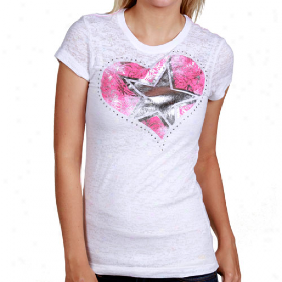Dallas Cowboy Tshirts : Dallas Cowboy Ladies White Xxoo Burnout Tshirts