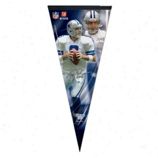 Dallas Cowboys #9 Tony Romo Navy Blue 17'' X 40'' Player Felt Pennant