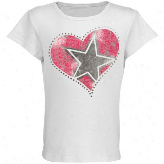 Dallas Cowboys Apparel: Dallas Cowboys Youth Girls White Xoxo T-shirt