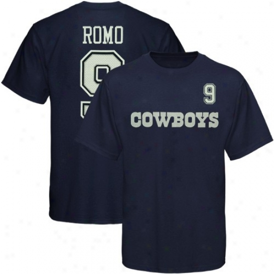 Dallas Cowboys Attire: Dallas Cowboys #9 Tony Romo Youth Navy Melancholy Player T-shirt
