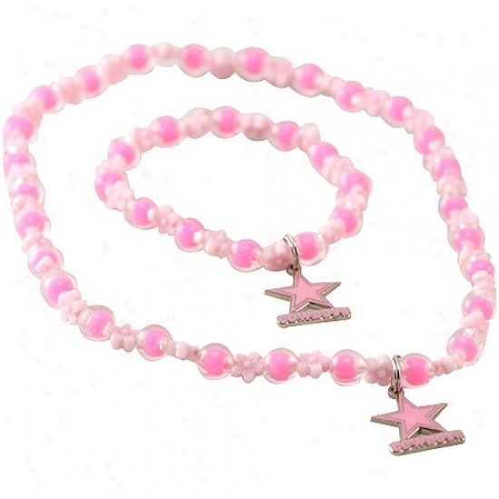 Dallas Cowboys Girls Pink Sophie Beaded Team Logo Bracelet & Necklace Set