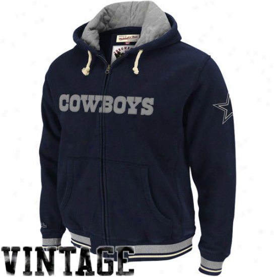 Dallas Cowboys Hoodie : Mitchell & Ness Dallas Cowboys Navy Blue Standing Unoccupied space Premium Full Zip Hoodie Jacket