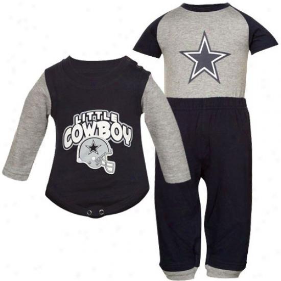 Dallas Cowboys Hoodies : Dallas Cowboys Newborn Gray-navy Blue Little Cowboy Set