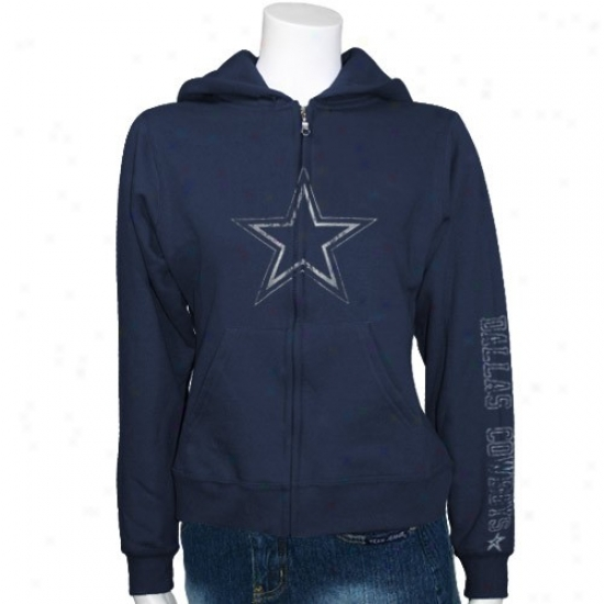 Dallas Cowboys Hoodys : Reebok Dallas Cowboys Ladies Navy Blue Giant Logo Full Zip Hoodys