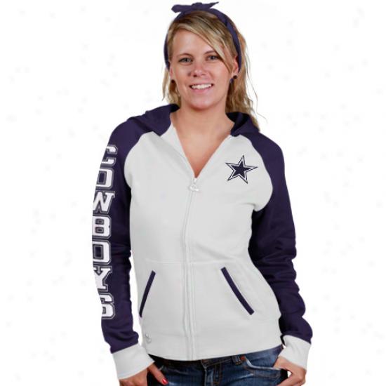 Dallas Cowboyq Hoodys : Reebok Dallas Cowboys Ladies White Letterman Full Zip Hoodys