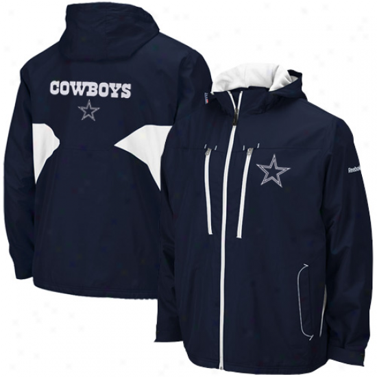 Dallas Cowboys Jackets : Reebok Dallas Cowboys Navy Blue Sideline Midweight Full Zip Jackets