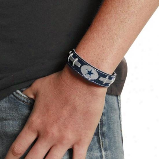 Dallas Cowboys Ladies Navy Blue Leather Football Bracelet