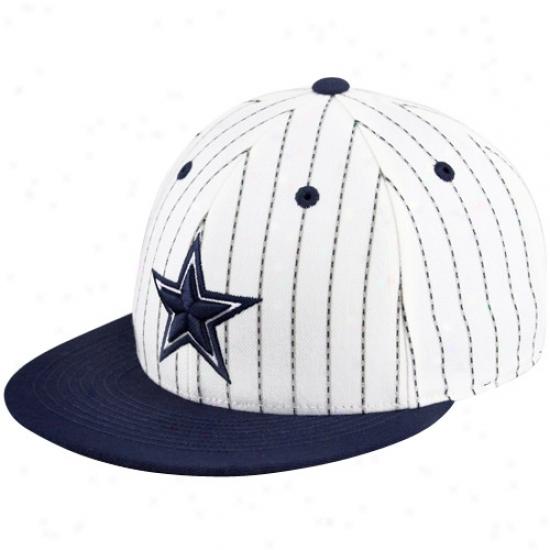Dallas Cowboys Merchandise: Reebok Dallas Cowboys White-navy Blue Pa Pinstripe Flwt Bill Fittes Hat