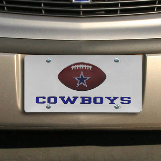Dallas Cowboys Mirrored Permit Platee W/ Domed Football