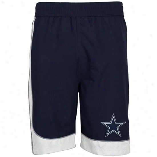 Dallas Cowboys Navy Blue Side Stripe Boardshort