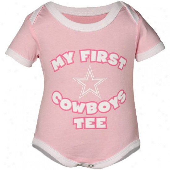Dallas Cowboys Newborn Girls Pinkk My First Cowboys Tee Creeper