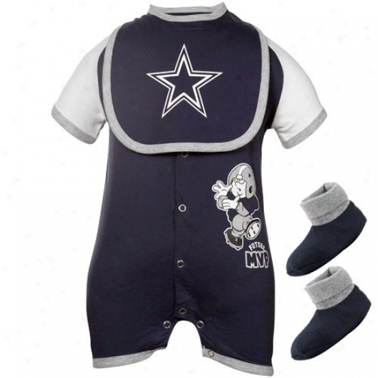 Dallas Cowboys Newborn Navy Blue Future Mvp Creeper, Bib & Bootie Set