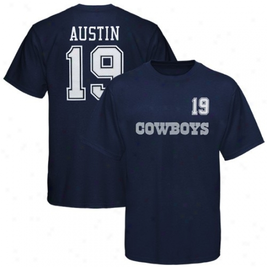 Dallas Cowboys Shirt : Reebok Dallas Cowboys #19 Miles Austin Navy Blue Idler Shirt