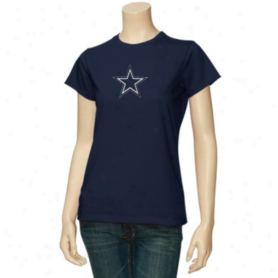 Dallas Cowboys Shirt : Reebok Dallas Cowboys Ladies Navy Blur Loogo Premier Shirt