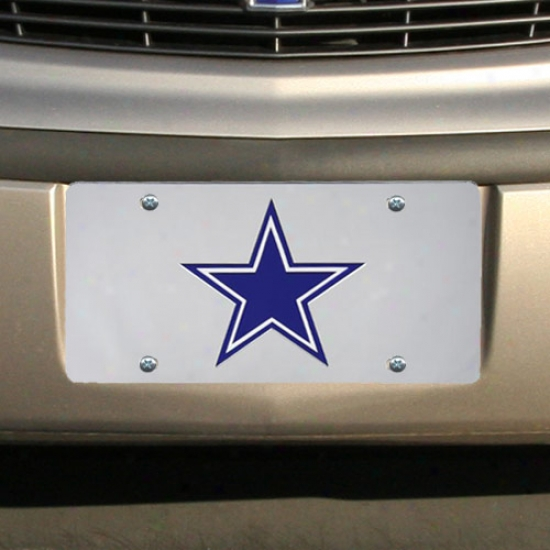 Dallas Cowboys Silver Mirrored License Plate