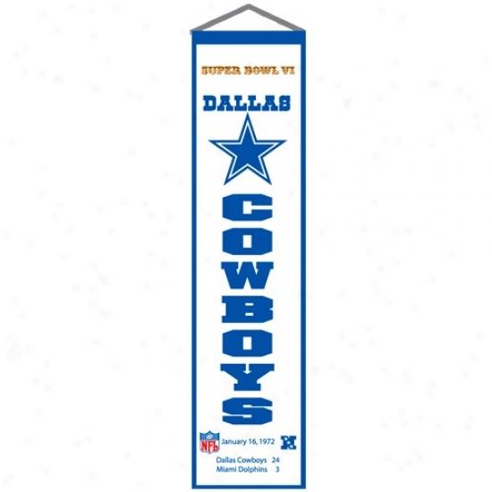Dallas Cowboys Super Bowl Vi Champions White Heritage Banner