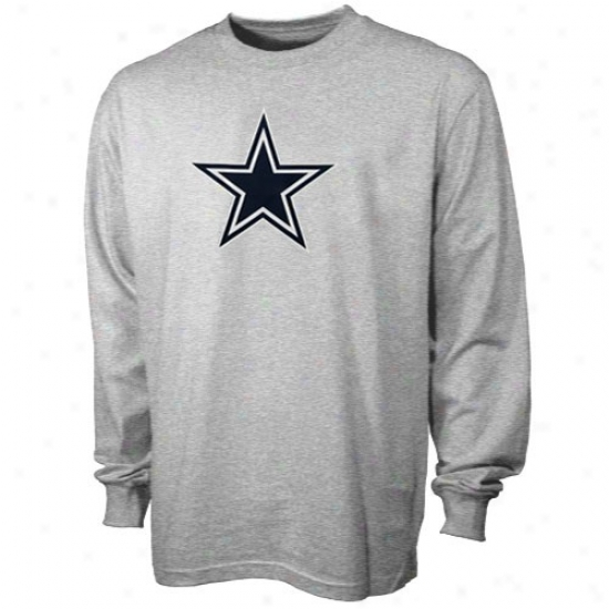 Dallas Cowboys T-shirt : Reebok Dallas Cowboys Ash Logo Premier Lingering Sleeve T-shirt