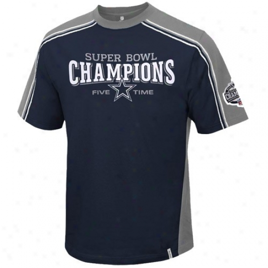 Dallas Cowbboys T Shirt : Reebok Dallas Cowboys Navy Blue Five Time Champs Upgrade T Shirt